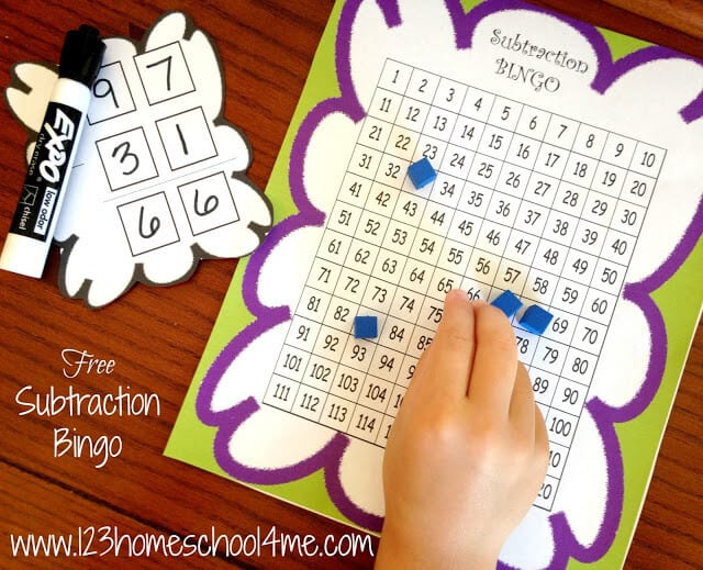 Use this hundreds chart he playing card for this subtraction bingo math game for 1st grade, 2nd grade, and 3rd grade students.