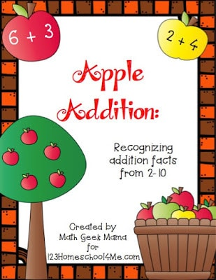 free printable apple math pack for pre k, kindergarten, and first grade students