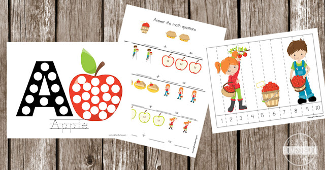 apple preschool worksheets - counting, adding, colors, letter a, counting cards, patterns, subtraction, bingo marker