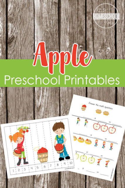 FREE Apple Worksheets Preschool - counting, adding, subtracting, patterns, bingo markers, and lots more in these apple theme worksheets for prek kids. SO CUTE! #preschool #prek #worksheets
