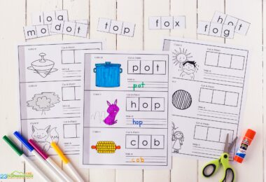 cvc cut and paste worksheets free for kindergartners and grade 1 students