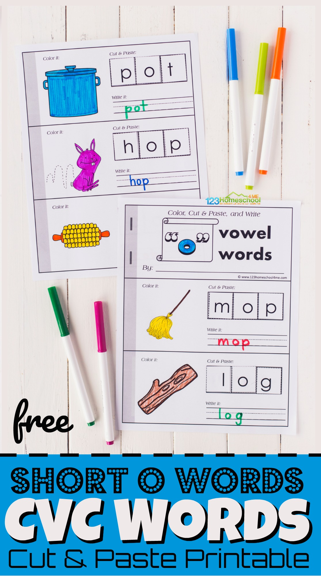 Help kids practice short o words cvc with this super cute and free printable Cut and Paste worksheets you can turn into a short o word booklet. This short o cut and paste is a fun way for preschool, pre k, kindergarten, and first grade students to practice sounding out and spelling short vowel words.