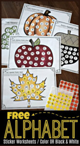 practice letter recognition and matching upper and lowercase letters with these fall alpahbet printables - pumpkinn, apple, leafe, acorn, and more