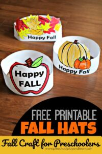 super cute, free printable, fall craft for preschoolers - leave, apple, and pumpkin hat crafts