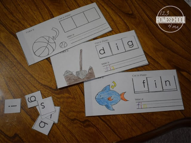 this free printable cut and paste book is a great way to learn Short i words