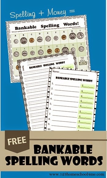 FREE Bankable Spelling Words Activity - kids will have fun practicing counting money, learning money for kids with this free printable that helps kids practice spelling words at the same time. This is such a fun printable worksheets for kindergarten, 1st grades, 2nd grade, 3rd grade, and 4th grade students. Perfect for interdisciplinary math #spelling #countingmoney #homeschool