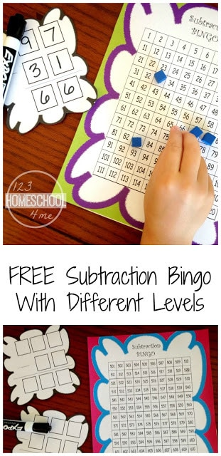 FREE Subtraction Bingo - this is such af fun, no prep, and FREE math game with different levels for first grade, 2nd grade, and 3rd grade students. Perfect subtraction game to make learning minus fun #2ndgrade #subtraction #mathgame #homeschool