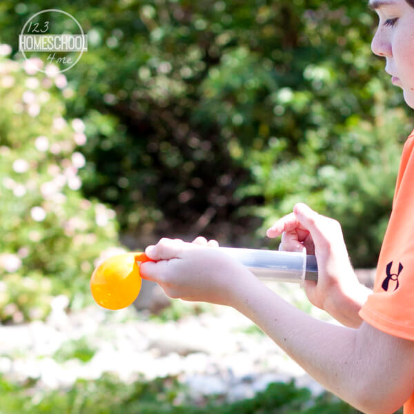 using a 60mL syringe fill the water balloons with various different liquids to perform the density experiment