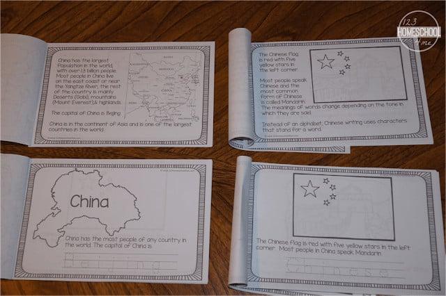 2 versions of printable china worksheets