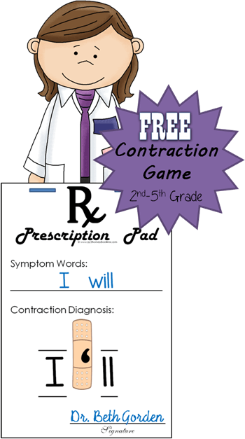 FREE Band Aid Contraction Games - this is such a fun educational game to help 2nd grade, 3rd grade, 4th grade, and 5th grade students practice contractions. This contraction games activities for your student to have fun with this free printable while getting some great contractions practice.