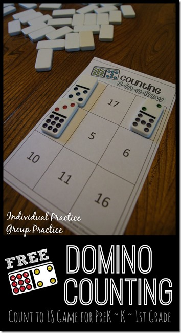 FREE Domino Counting Game - practice counting to 20 and adding numbers up to 10 for this fun math game that can be done on your own or with a friend with preschool, PreK, Kindergarten, first grade #counting #addition #kindergarten