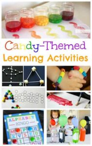 LOTS of Candy Activities for kids ideas! Perfect for making learning FUN, using up extra HALLOWEEN candy, or celebrating National Candy Day November 4th. Ideas for preschool, prek, kindergarten, first grade, 2nd grade, and more #candyactivities #kidsactivities #nationalcandyday