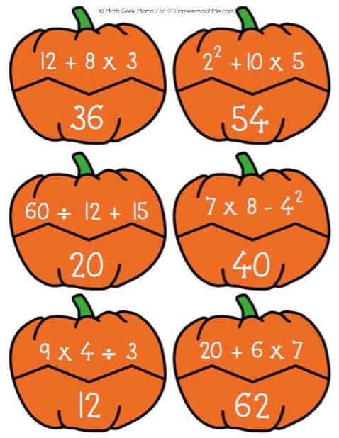 make practicing sixth grade math fun with this free printable, Order of  Operations Games with a fun pumpkin theme for fall
