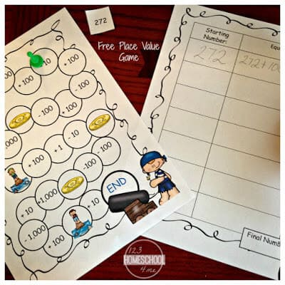 Use the pirate math game to play practice with this Place Value Activities for grade 1 math, grade 2 math, grade 3 math