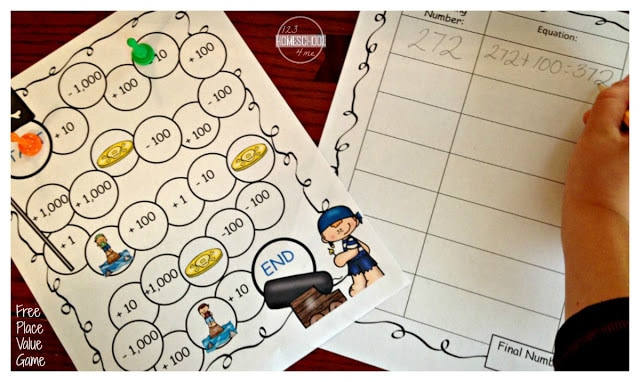 super cute pirate themed Place Value Game for 1st grade, 2nd grade, and 3rd grade math teaching place value