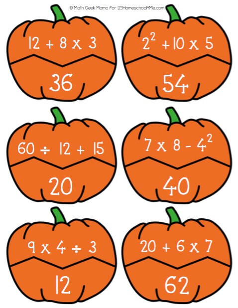 FREE Order of Operations Pumpkin Puzzles