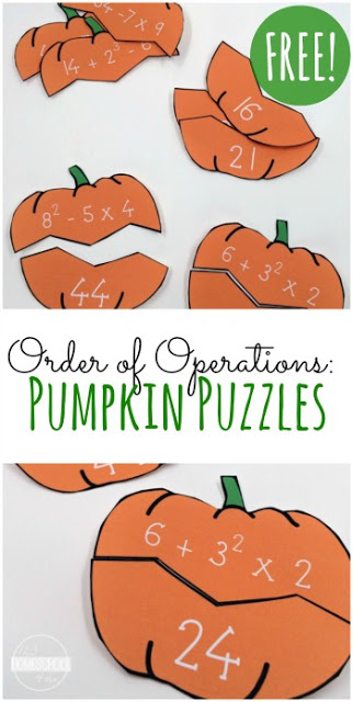 FREE Order of Operations Pumpkin Puzzles - These super cute free printable, math games will help middle schoolers (5th grade, 6th grade, 7th grade, and 8th grade) students practice order of operations while having fun with these fall themed educational activities.
