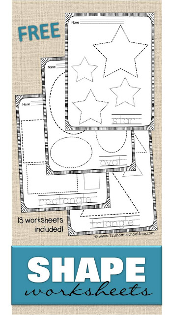FREE Shape Worksheets - help kids practice making shapes and learning their names with these 13 free printable trace the shape worksheets. Includes extension ideas for tactile learning and younger students - perfect for toddler, preschool, prek, kindergarten, and first grade students. #shapes #shapeworksheets #kindergarten