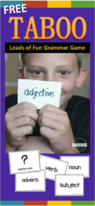 Free Taboo Grammar Game for reviewing parts of speech with 2nd grade, 3rd grade, 4th grade, 5th grade, and 6th grade students