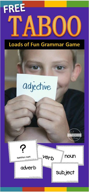 Have fun reinforcing various grammar concepts with your child by playing a fun, Free Taboo Grammar Games for kids.  This grammar games printable is the perfect way to review parts of speech, punctuation symbols, parts of a sentence, and more!  Play in a group or one-on-one with your early elementary aged kids in 2nd grade, 3rd grade, 4th grade, 5th grade, and 6th grade students.