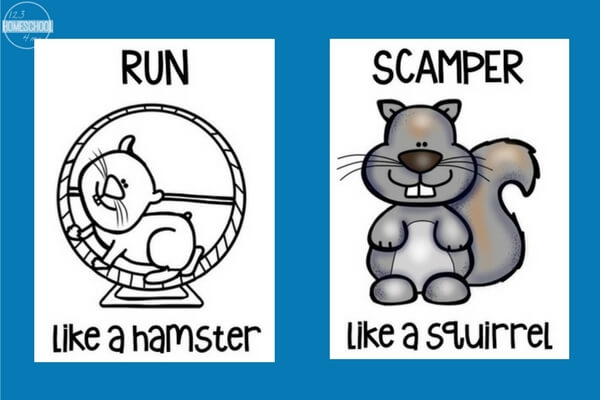 Pick a card and get moving with these free brain break animal actions cards!