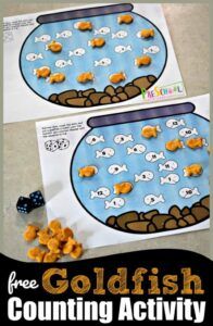 FREE Goldfish Counting Game for preschool and kindergarten age kids