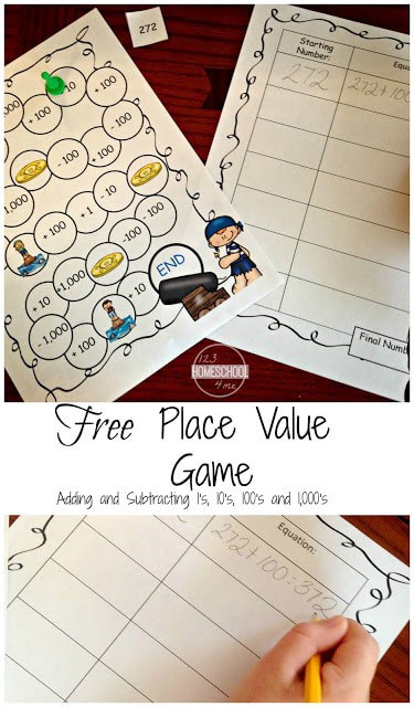 FREE Printable Place Value Game - this pirate themed math game is afun way for teaching place value to 1st grade, 2nd grade, and 3rd grade students. This place value practice helps students use mental math to add by tens, hundreds, and thousands. Perfect for math centers, extra practice, and summer learning for grade 1 math, grade 2 math, grade 3 math. #placevalue #freemathgame #education #1stgrade #2ndgrade #3rdgrade #homeschooling
