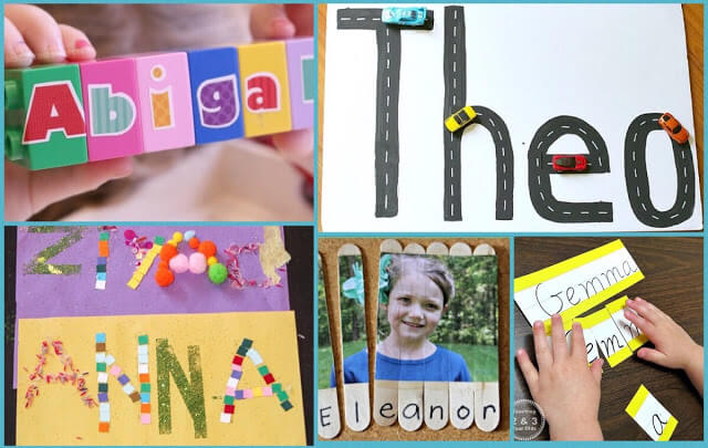 fun name recognition activities for preschool, prek, kindergarten, toddler