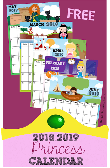 FREE 2018-2019 Printable Princess Calendar - this free printable calendar is perfect for helping toddler, preschool, kindergarten, first grade, 2nd grade, and older kids write down assignments and learn about days, months and years or writing down monthly or weekly assignments. Kids will love the super cute Disney Princess inspired theme!