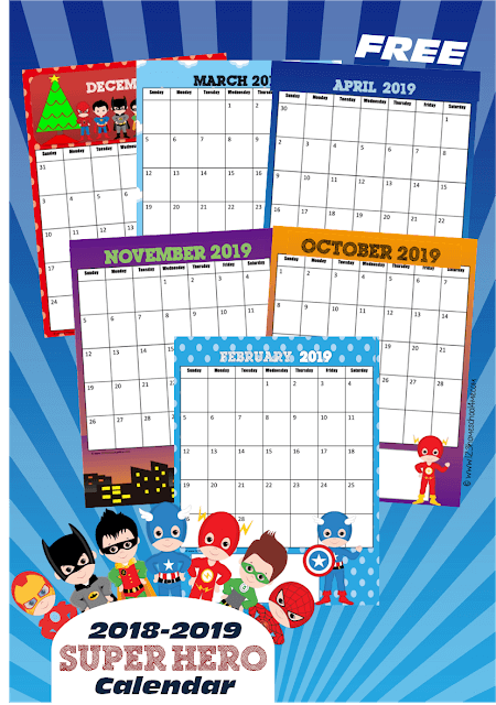 Free Super Hero Printable Calendar 123 Homeschool 4 Me
