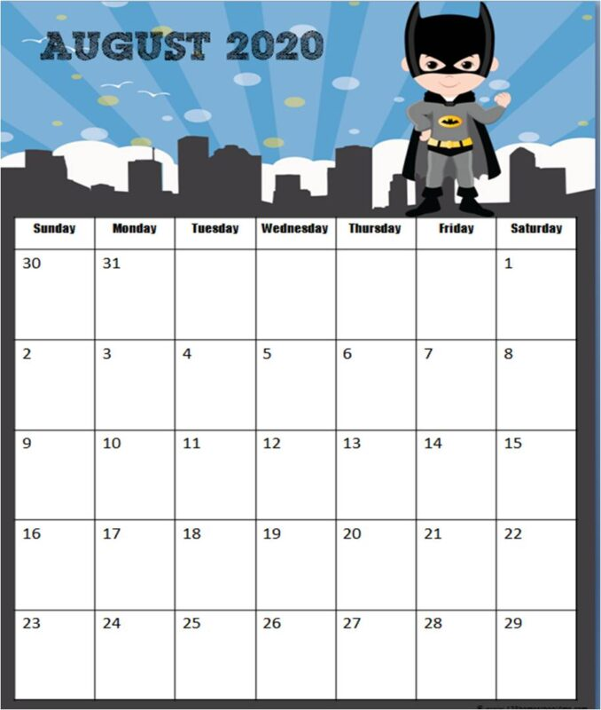 Free printable 2020 calendar pages with a fun super hero theme for kids