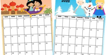 super cute, free printable, 2020 calendar with disney princess clipart