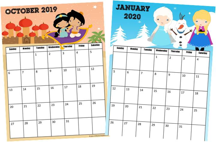 picture regarding Calendar 2020 Printable named Free of charge Princess Calendar 2019-2020 123 Homeschool 4 Me