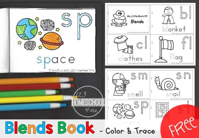 Teach Blends for Kids with this free printable blends book for kindergarten, first grade, and 2nd grade kids