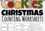 These super cute, free printable Christmas counting worksheets allow toddler, preschool, pre-k, and kindergarten age students to practice counting Christmas cookies. These free Christmas Worksheets are a fun, no-prep Christmas Math activity for young learners during December.  Simply download pdf file with Christmas Math Worksheets and have fun practicing coloring and counting to 20.