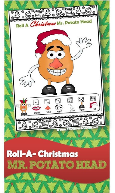 FREE Roll a Christmas Mr. Potato Head - this is such a fun Christmas games for family and kids of all ages. I love the clever educational twists you can do to play this Christmas game while practicing math, spelling words, geography, and more. Or use it as a silly minute to win it for children, Christmas parties, or Christmas activities. #christmasgames #christmasprintables #preschool