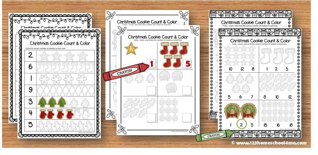 Christmas Math Worksheets for Kindergarten
