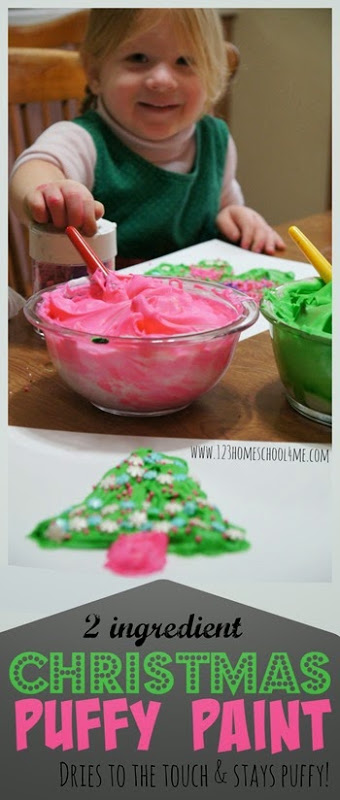 Christmas Puffy Paint Recipe - This DIY recipe for children is AWESOME! It will dry to the touch while still staying puffy; plus it only uses 2 ingredients (homemade fun with shaving cream and food coloring)! Great recipe for play, crafts for kids, kid art, and preschool kids activities. We love to use it as a Christmas crafts for kids