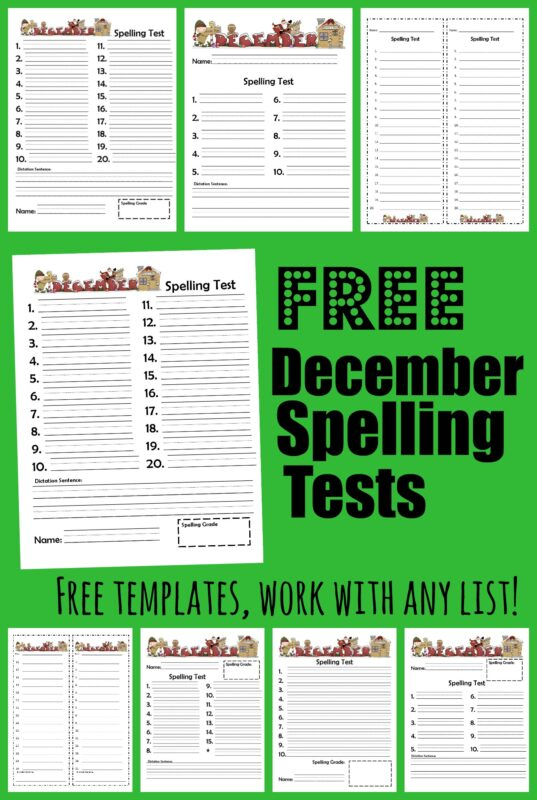 This handy free printable spelling test is perfect for working with first grade, 2nd grade, 3rd grade, 4th grade, 5th grade, and 6th grade students on December spelling.  Download pdf file with free printable Christmas spelling test template to make practicing spelling words extra fun in December.  This pack of Christmas spelling test printable work with any spelling words list and contain options for 10, 15, or 20 words with or without dictation.