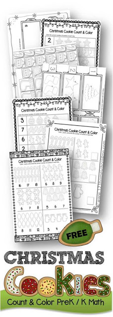 FREE Christmas Cookies Count and Color - free printable christmas counting Preschool, Kindergarten Math activities for kids to practice number recognition and fine motor skills. These Kindergarten math prinables are great for centers and are more than Worksheets as these clever, fun activities make it more like math games (counting 1-20)