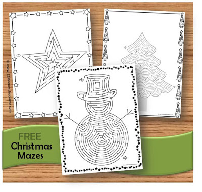 FREE Christmas Mazes for christmas centers, christmas break, christmas worksheets for kids
