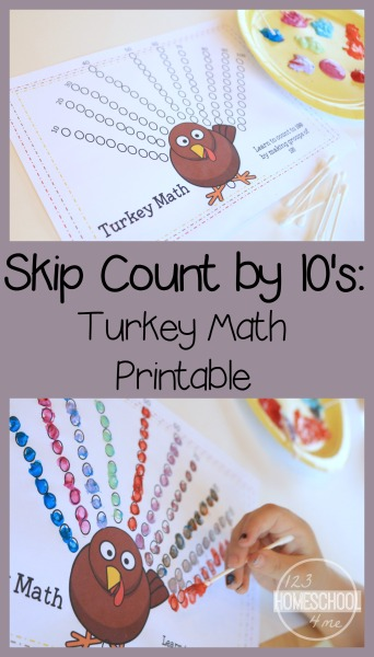 Sneak in some fine motor skills work with this clever and fun way to work on skip counting! With this free printable Turkey Math children will practice skip counting by 10s. Kindergarten and first grad students will love this hands-on free math printable where they will count by 10s to reach 100 while decorating the turkey feathers with this Thanksgiving themed math activity for November.