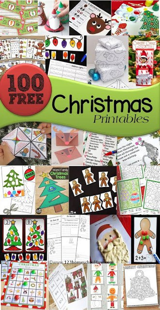 FREE Christmas Printables - over 100 free printables arranged easily by type: Christmas games, Christmas math, Christmas language arts, Christmas coloring sheets, Christmas Preschool and more for toddler, prek, kindergarten, first grade, 2nd grade, 3rd grade, 4th grade, and 5th grade students (homeschool, holiday centers, and more) #christmas #christmasprintables #christmasworksheets