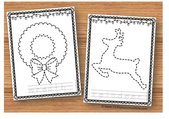 christmas printables with toddler preschool and kindergarten tracing pages