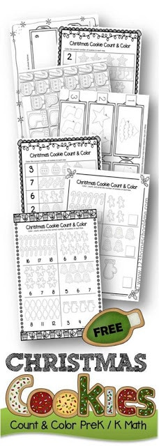 FREE Christmas Cookies Math - this free printable will help kids count and color with a fun christmas cworksheets to practice number recognition and fine motor skills. Perfect for preschool, prek, kindergarten age kids for learning in December #preschoolworksheets #chrsitmasprintable #cookiemath