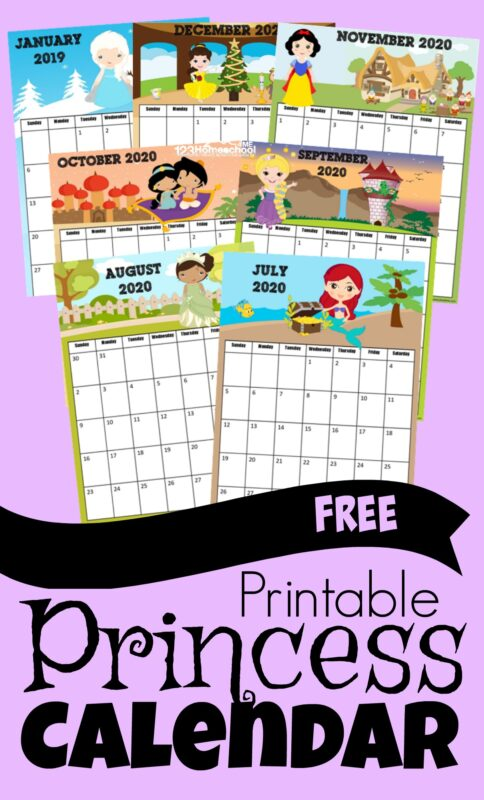 FREE Printable Princess Calendar for 2019-2020 #disneyprincess #printablecalendar #calendars
