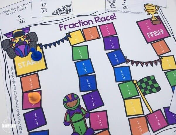 Fraction Race Board Game - a fun fraction math games