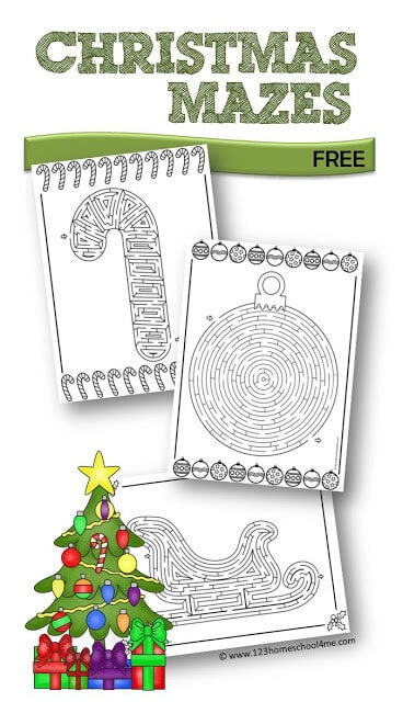 FREE Christmas Mazes - included in these Christmas printables are 8 different holiday themed mazes kids will have making. This is perfect for Christmas parties, Christmas centers, fun Christmas worksheets or over Christmas break for elementary age kids. #christmasprintables #christmas #printablemazes