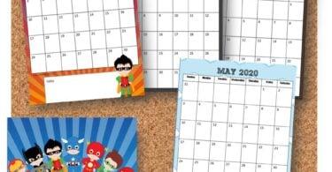 FREE Pirntable Calendar with kids favorite super hero characters for school year 2019-2020