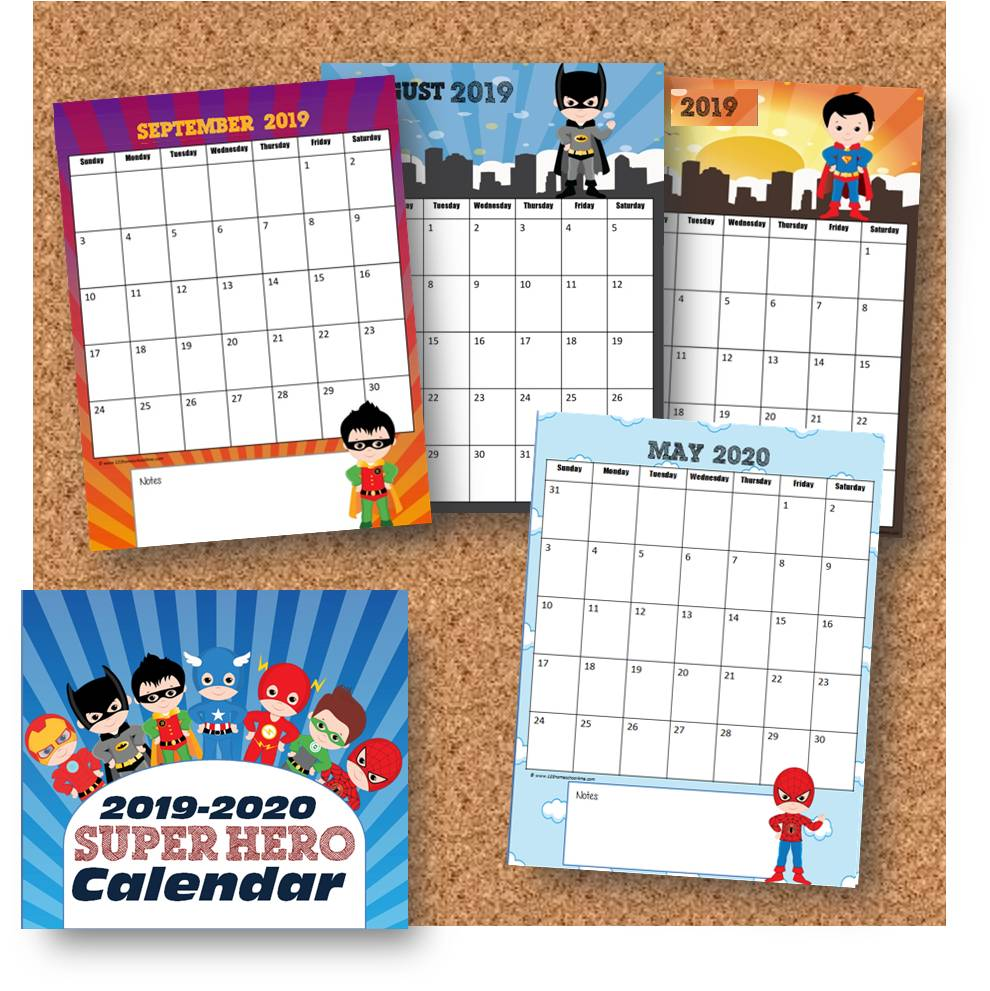 picture relating to Fun Printable Calendar named No cost Tremendous Hero Calendar 2019-2020 123 Homeschool 4 Me